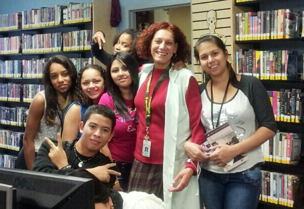 teacher and students visiting the Teen Room