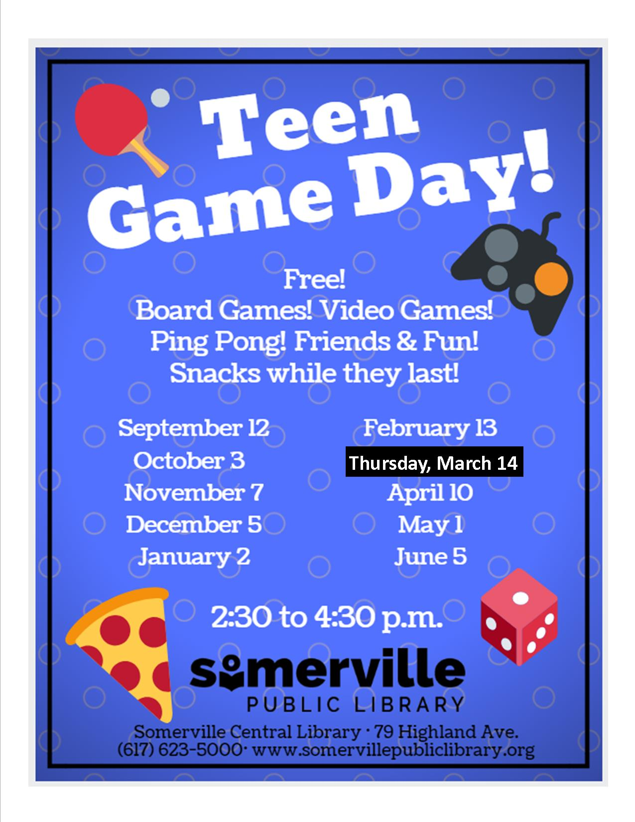 Teen Game Day flyer