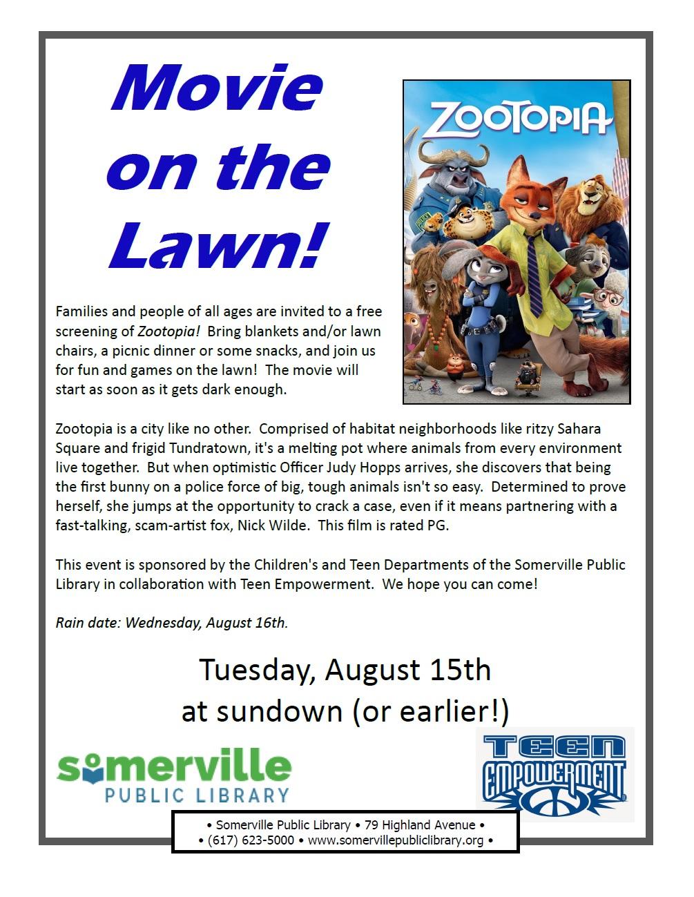flyer for Zootopia event described below