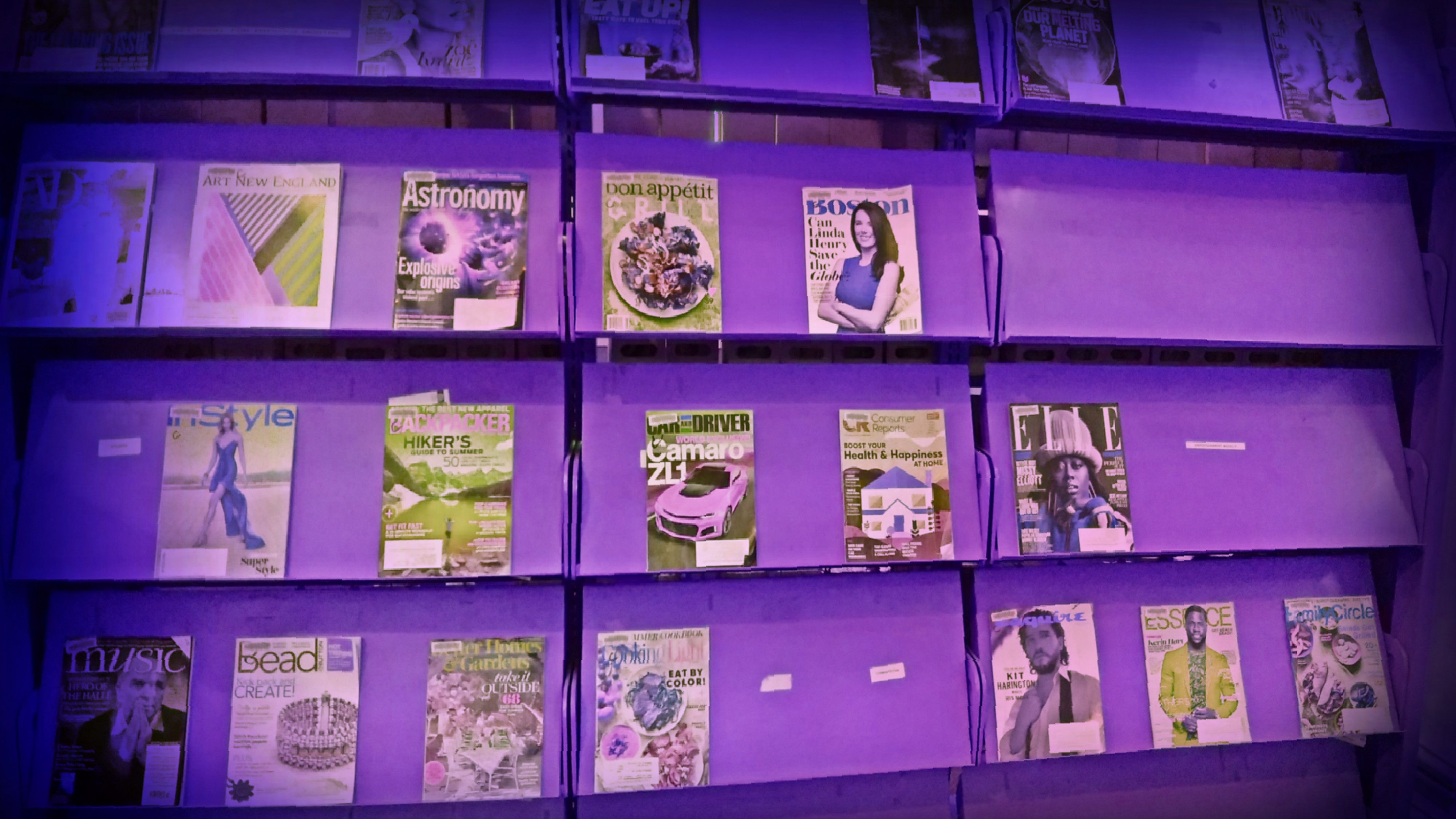 Picture of Periodicals in the library on display