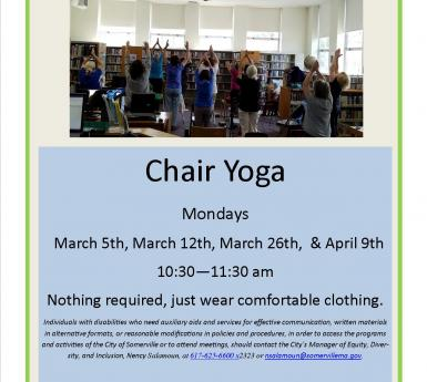 Poster for 4 chair yoga sessions