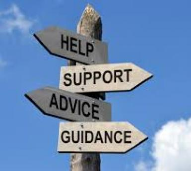 Signpost pointing to help and advice