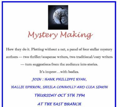 Mystery Making program flyer