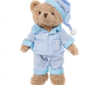 teddy bear wearing pajamas
