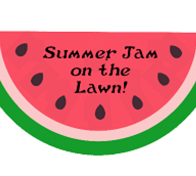 watermelon slice with Summer Jam on the Lawn written on it