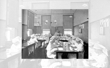 WWI Surgical Dressing Class at Somerville High School