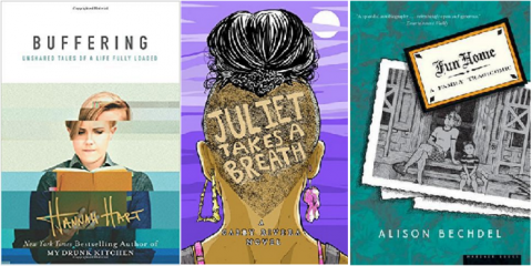 Book covers of Buffering, Juliet Takes a Breath, and Fun Home