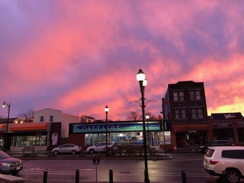 Sunset in front of the East Branch Library