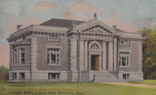 Somerville Public Library West Branch vintage postcard