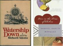 """2 book covers: """"Watership Down"""" and """"Love in the Time of Cholera"""""""