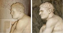 side by side comparison of two statues, Clarence and Damoxenus