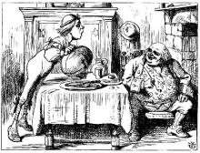 John Tenniel illustration of Father William and his son