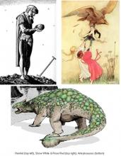 Three images: Hamlet; Snow White & Rose Red; ankylosaurus