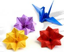 origami crane and flowers