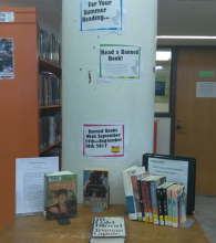 Picture of most frequently challenged book display in the central library